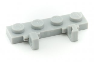 Lego 4 Sand Green 1x2 plate with top clip hinge fingers