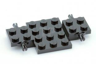 Black x2 2441 Lego Vehicle Base 4x7x2//3 with 4 Wheel Pins