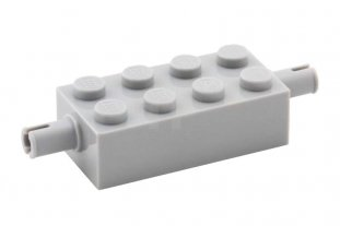 Lego 25 Light Blueish Grey Plates Modified 2 x 4 Pins Car Axle Pieces for Wheels