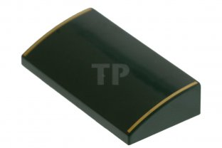 main image for Slope, Curved 2 x 4 x 2/3 with Gold Stripes Pattern