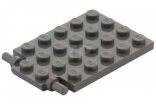 Lego Lot of 4 New Dark Tan Plates Modified 4 x 6 with Trap Door Hinge Pieces
