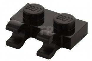 Main image for LEGO Plate, Modified 1 x 2 with Clips Horizontal (open O clips)