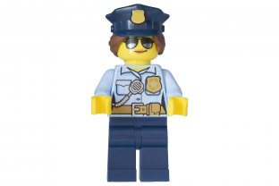 Lego Town City Police Minifigure With White Flat cap And Radio