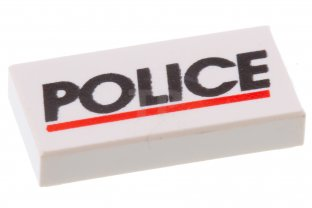 Main image for LEGO Tile 1 x 2 with 'POLICE' Red Line Pattern