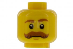 Main image for LEGO Minifig, Head Moustache Brown Bushy Curled, Brown Eyebrows, White Pupils
