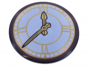 new LEGO black round Shield with white and gold Clock Pattern