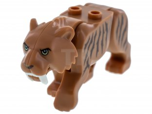 Main image for LEGO Cat, Large (Saber-Toothed Tiger) with Light Yellow Eyes, Long Teeth and Reddish Brown Stripes Pattern