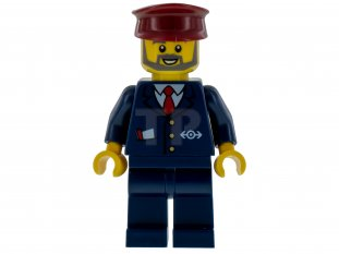 Main image for LEGO Dark Blue Suit with Train Logo, Dark Blue Legs, Dark Red Hat, Gray Beard