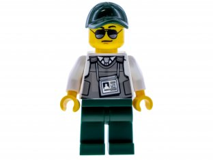 Main image for LEGO Security Officer - Dark Green Legs, Dark Green Cap with Hole, Sunglasses