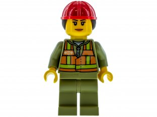 Main image for LEGO Train Worker - Female, Orange Safety Vest with Lime Straps, Olive Legs, Red Construction Helmet with Ponytail