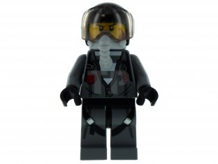 Main image for LEGO Sky Police - Jail Prisoner Jacket over Prison Stripes, Black Helmet, Oxygen Mask