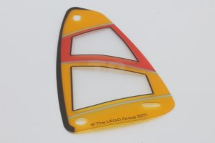 Main image for LEGO Plastic Triangle 6 x 12 Sail with Orange and Red Pattern