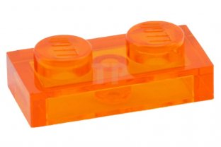 Lego 5 New Trans-Orange Plate Pieces 1 x 2