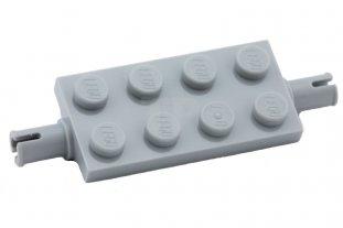 LEGO 15 X Asse Ruota Nuovo Grigio scuro Dark Bluish Gray Plate 2x4 pin 30157
