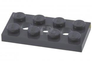 2 X Lego 3709b Technic Plate 2 x 4 with 3 Holes Light gray