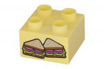 Fel Licht Geel Duplo, Brick 2 x 2 with 2 Sandwich Halves Pattern