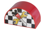 Rood Duplo, Brick 2 x 4 x 2 Curved Top with Checkered Flag and Crossed Tools with Mouse Ears Pattern