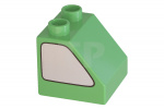 Bright Green Duplo, Brick 2 x 2 Slope 45 with Silver Window Pattern on Both Sides