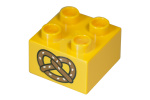 Bright Light Orange Duplo, Brick 2 x 2 with Pretzel Pattern