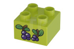Lime Duplo, Brick 2 x 2 with Berries and Leaves Pattern