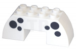 Wit Duplo, Brick 2 x 6 x 2 Curved with 2 x 2 Cutout on Bottom with Black Spots Pattern