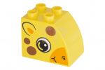 Geel Duplo, Brick 2 x 3 x 2 with Curved Top and Giraffe Face Pattern