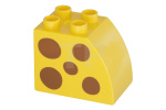 Yellow Duplo, Brick 2 x 3 x 2 with Curved Top and  a Spots Pattern