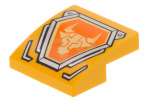 Bright Light Orange Slope, Curved 2 x 2 with Bright Light Orange Bull Emblem Pattern