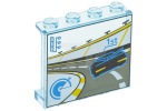 Trans-Light Blue Panel 1 x 4 x 3 with Side Supports - Hollow Studs with Racecar on Track Pattern