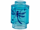 Trans-Light Blue Brick, Round 1 x 1 Open Stud with Blue Dragonfly Pattern