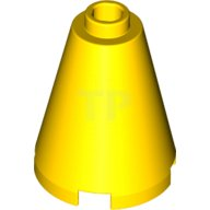 LEGO PART 3942C CONE 2 X 2 X 2 CONE OPEN STUD YELLOW 2 PIECES