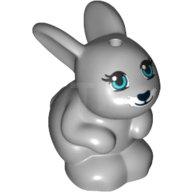 LEGO Duplo Bunny Rabbit w// Black Eyes /& Pink Nose Pattern Light Gray